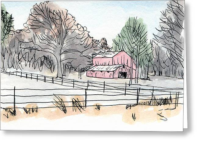 Barn In Winter Woods Greeting Card
