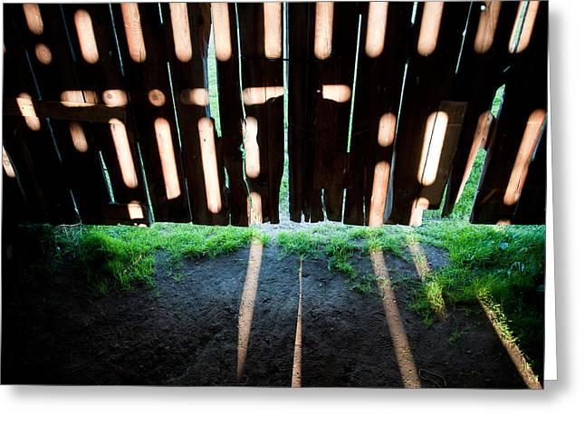 Barn Interior Shadows Greeting Card