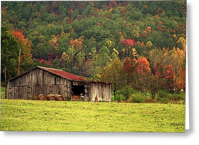Hay Bales Greeting Cards - Barn North Carolina 1994 Greeting Card by Michelle Wiarda