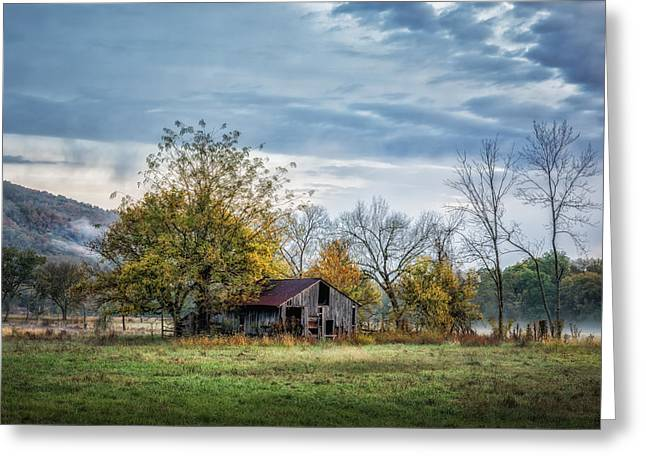Barn On A Misty Morning Greeting Card by James Barber