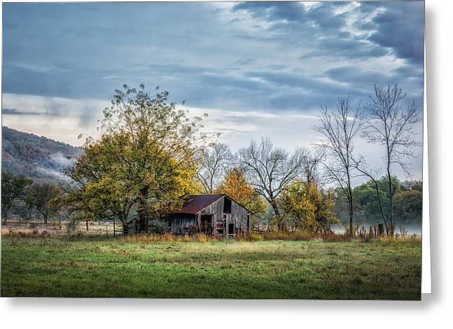Barn On A Misty Morning Greeting Card