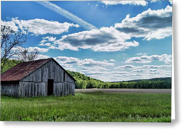 Greeting Card featuring the photograph Barn On Cedar Creek Bottoms by Cricket Hackmann