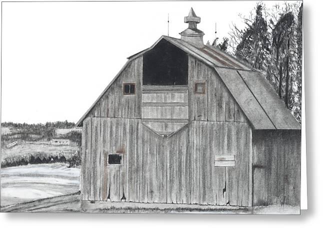 Barn On Hillside Greeting Card by Bryan Baumeister