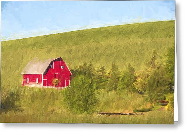 Barn On The Hill II Greeting Card by Jon Glaser