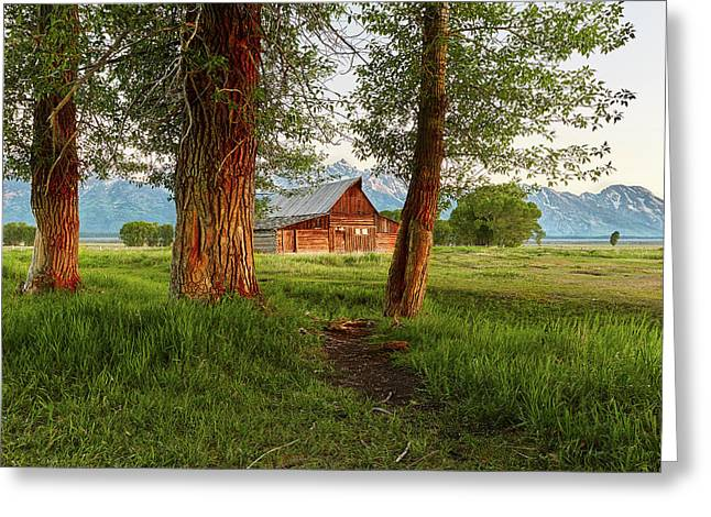 Barn On The Path Greeting Card