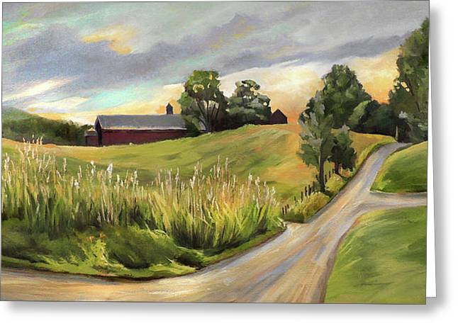 Barn On The Ridge In West Newbury Vermont Greeting Card