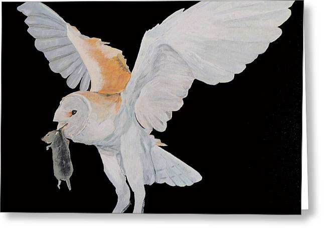 Greeting Card featuring the painting Barn Owl by Eric Kempson