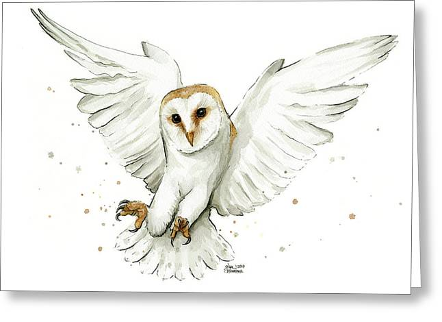 Barn Owl Flying Watercolor Greeting Card by Olga Shvartsur