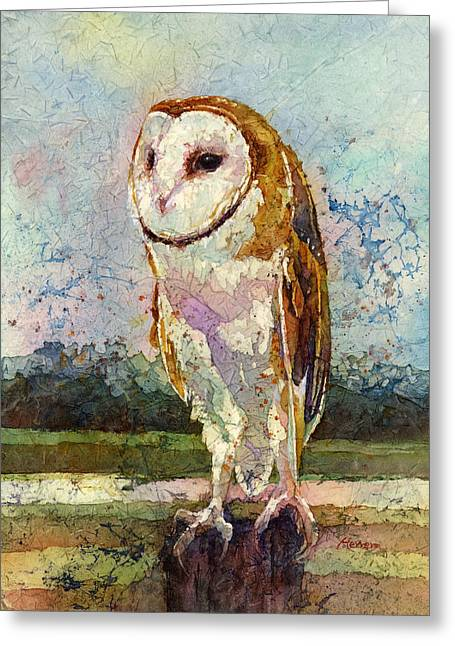 Barn Owl Greeting Card by Hailey E Herrera