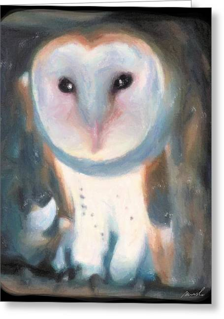 Barn Owl Greeting Card by The Art of Marsha Charlebois