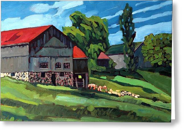 Barn Roofs Greeting Card by Phil Chadwick