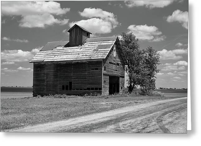 Barn Scene ...black And White Greeting Card
