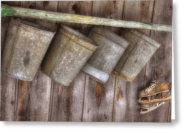 Barn Scenes - Old Skates And Sap Cans Greeting Card by Joann Vitali