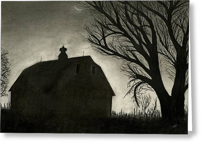 Old Barn Drawing Greeting Cards - Barn Sillouette Greeting Card by Bryan Baumeister