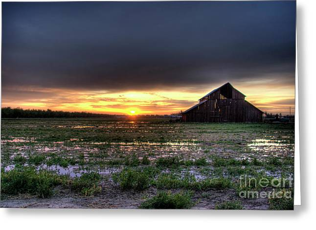 Barn Sunrise Greeting Card by Jim and Emily Bush