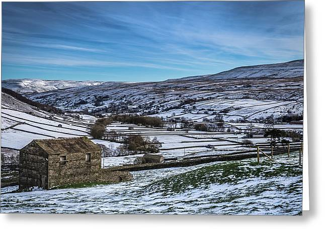 Barn View In The Snow. Greeting Card by Yorkshire In Colour