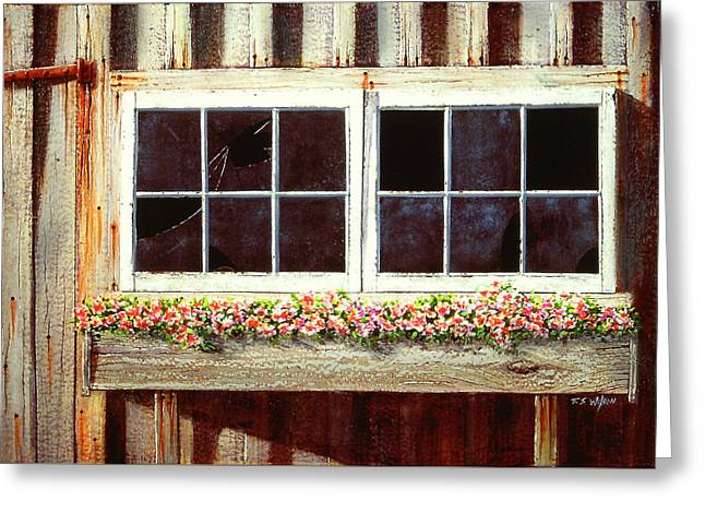 Barn Window Box Greeting Card