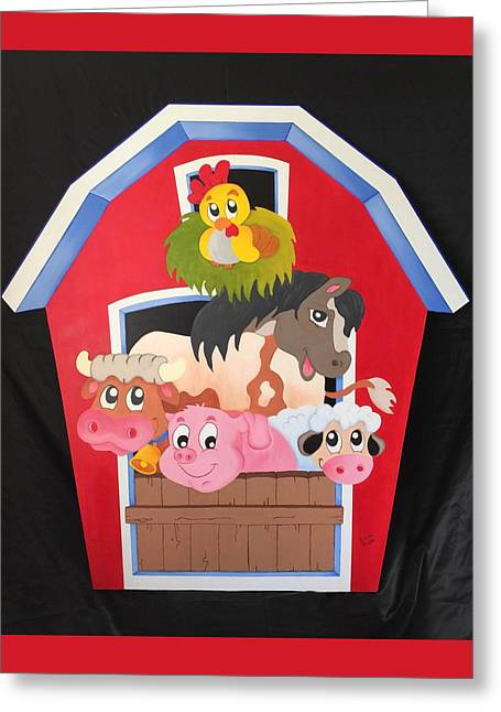 Barn With Animals Greeting Card