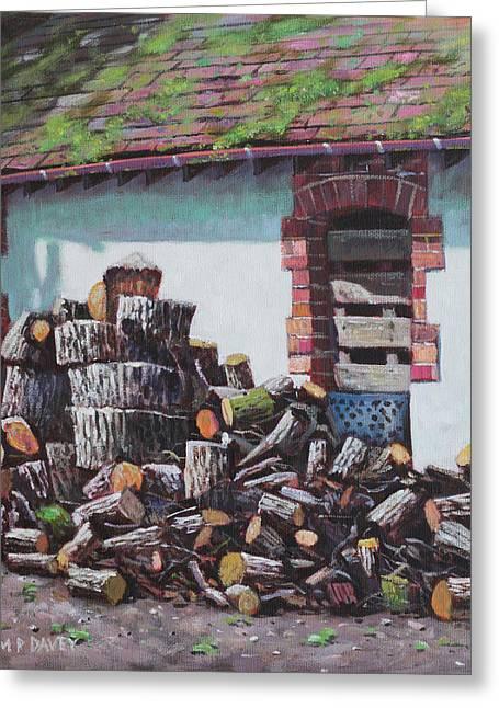 Barn With Log Pile Greeting Card