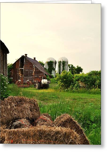 Barn With Silos And Hay Greeting Card