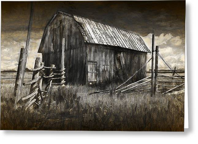 Barn With Wood Fence Greeting Card