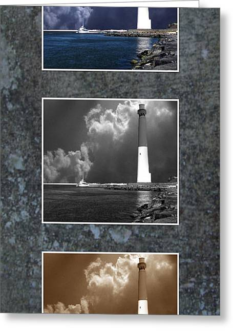 Barnegat Inlet Lighthouse Nj Trio Greeting Card