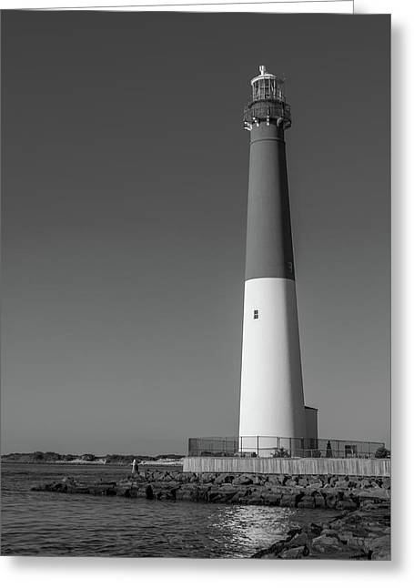 Barnegat Lighthouse And Inlet New Jersey Black And White Greeting Card