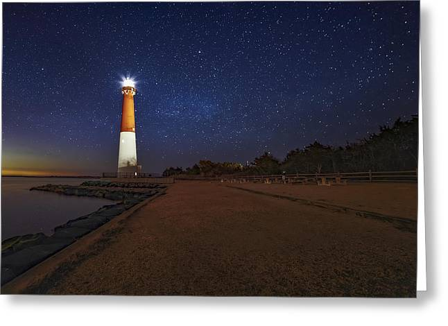 Barnegat Lighthouse Under The Stars Greeting Card by Susan Candelario