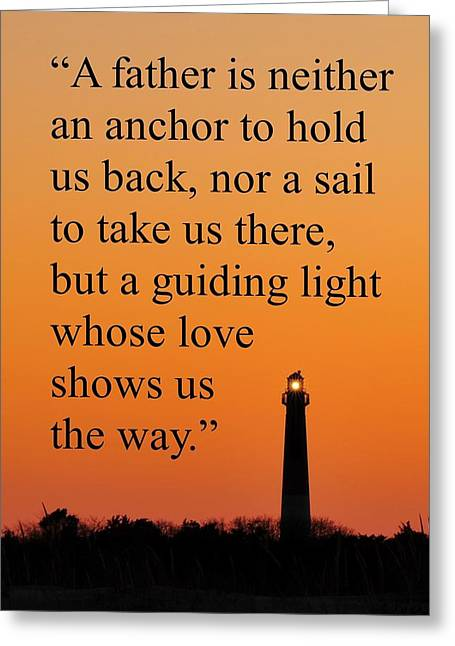 Barnegat Lighthouse With Father Quote Greeting Card