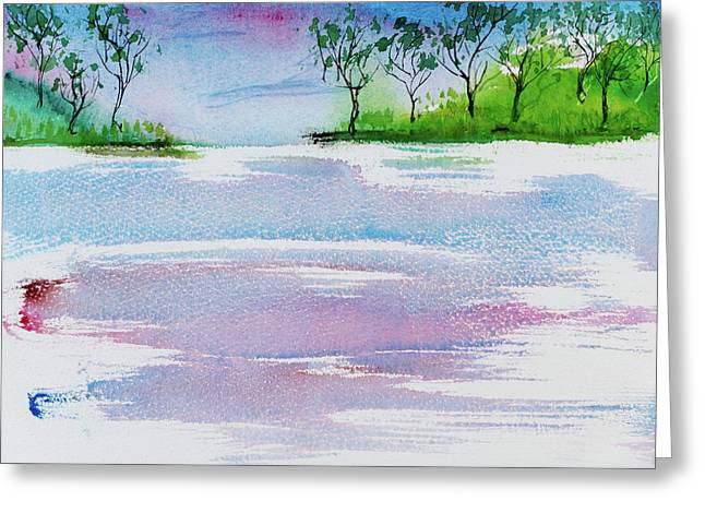 Gum Trees Frame The Sunset At Barnes Bay Greeting Card