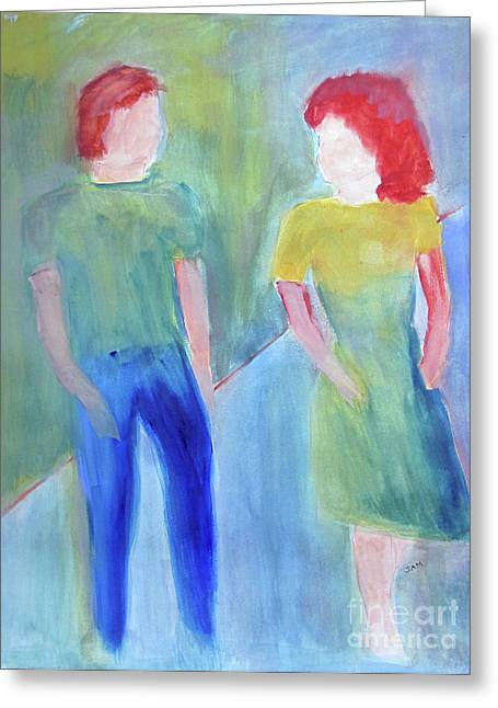 Greeting Card featuring the painting Barney And Elizabeth by Sandy McIntire