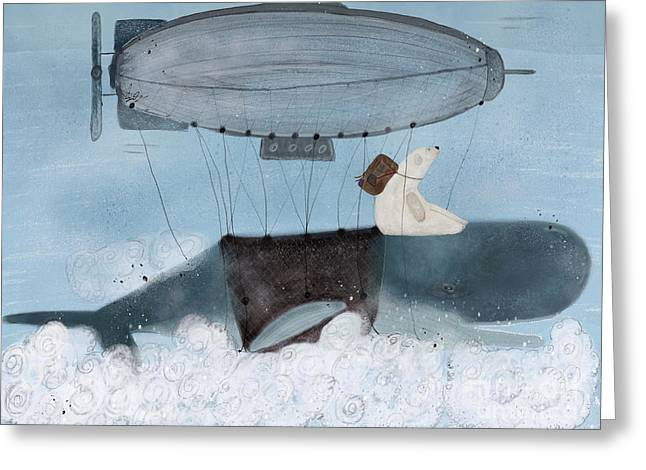 Barney And The Whale Greeting Card by Bri B
