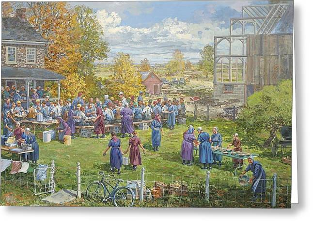 Barnraising Lunch Greeting Card by Peter Etril Snyder