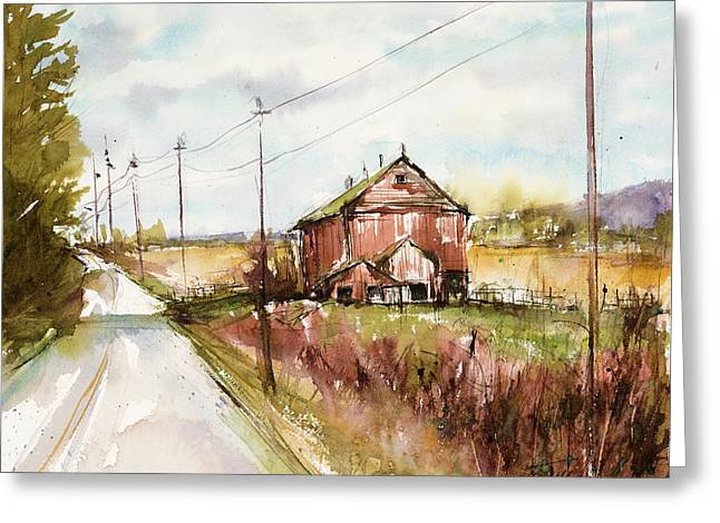 Barns And Electric Poles, Sunday Drive Greeting Card by Judith Levins
