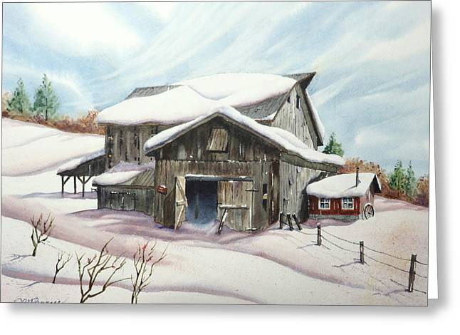 Barns In Snow Greeting Card by Joseph Burger