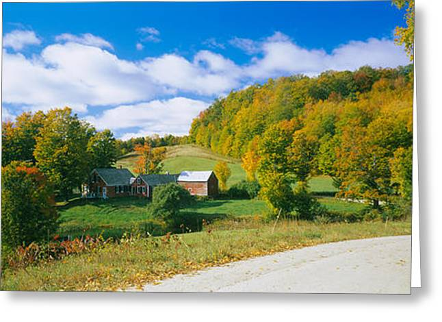 Barns Near A Road, Jenny Farm, Vermont Greeting Card by Panoramic Images