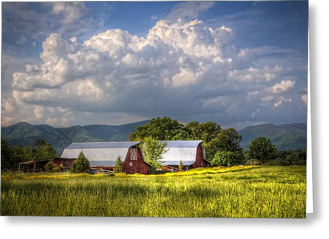 Barns Under The Clouds Greeting Card