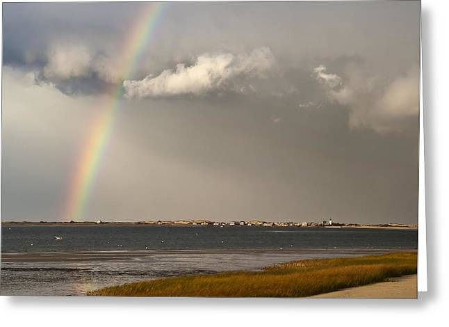 Storm Clouds Cape Cod Greeting Cards - Barnstable Harbor Rainbow Greeting Card by Charles Harden