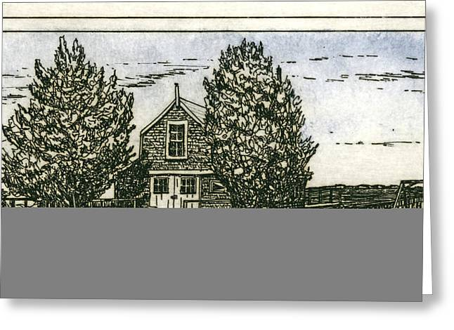 Greeting Card featuring the mixed media Barnstable Yacht Club Etching by Charles Harden