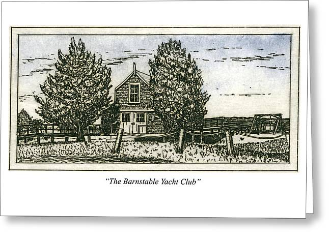 Greeting Card featuring the mixed media Barnstable Yacht Club Greeting Card by Charles Harden