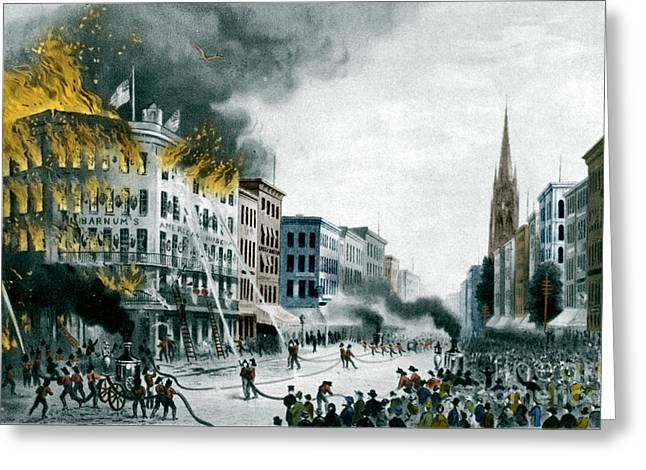 Barnums Museum Fire, 1865 Greeting Card by Science Source