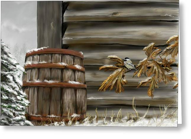 Greeting Card featuring the digital art Barnyard Barrel And Chickadee by Darren Cannell