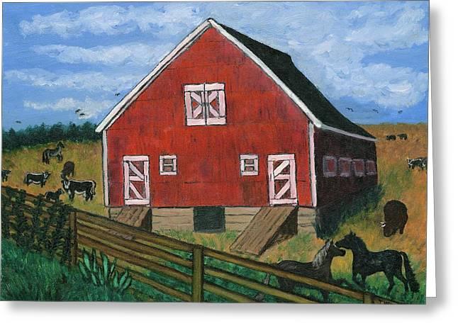 Barnyard On The Prairie Greeting Card by Tanna Lee M Wells