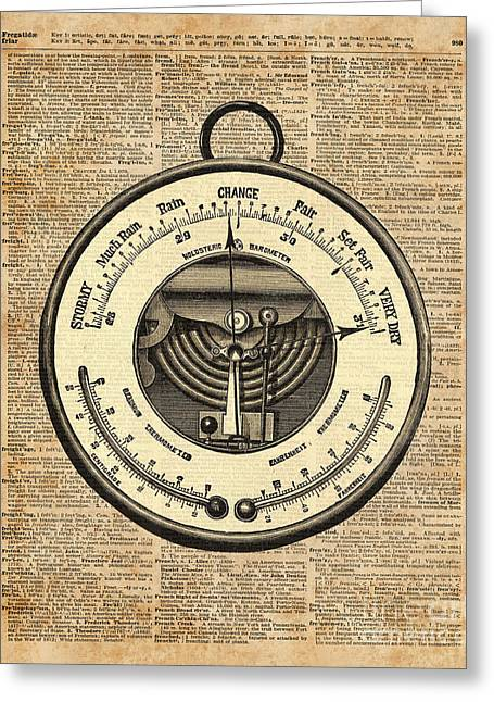 Barometer Vintage Tool Dictionary Art Greeting Card by Jacob Kuch