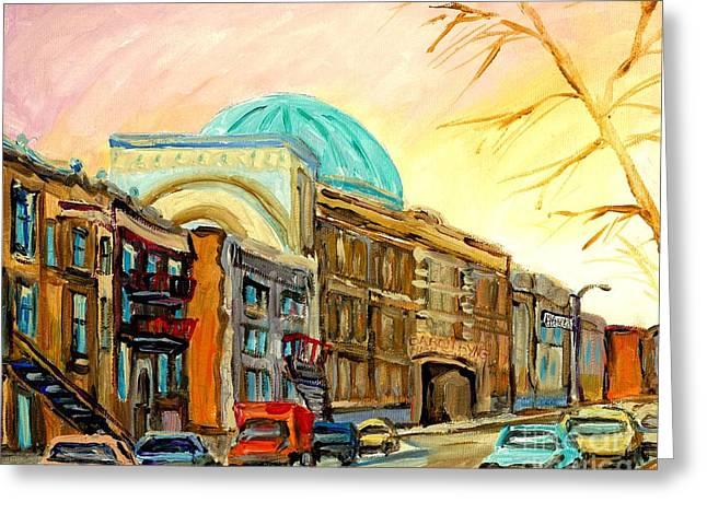Baron Byng High School Rue St Urbain Montreal Memories Street Scene Canadian Art Carole Spandau Greeting Card
