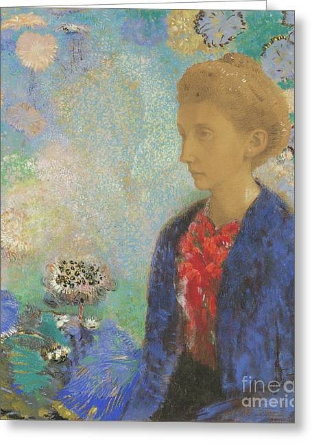 Baronne De Domecy By Odilon Redon Greeting Card