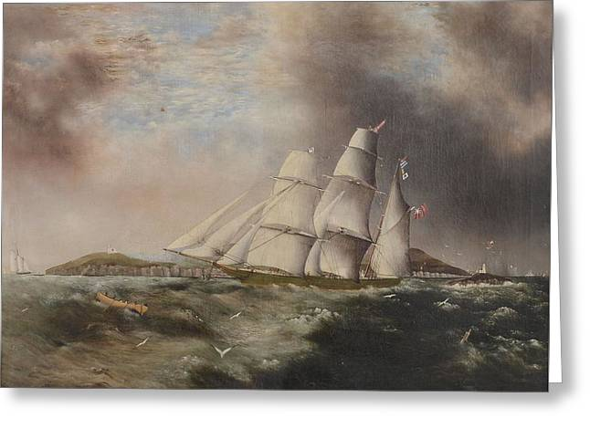 Barque Heading Out Off Anglesea In Choppy Seas Greeting Card