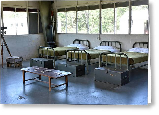 Greeting Card featuring the photograph Barrack Interior At Fort Miles - Delaware by Brendan Reals