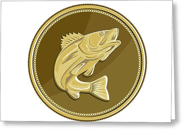 Barramundi Gold Coin Retro Greeting Card by Aloysius Patrimonio