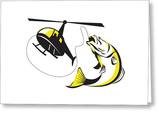 Barramundi Heli Fishing Retro Greeting Card by Aloysius Patrimonio